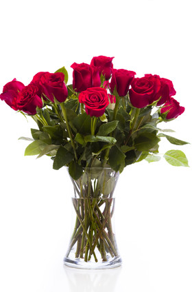 13 red roses in a vase